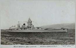 """WW2 - Photographie / Carte Postale Bâtiment De Ligne """" Strasbourg """" Sabordé à Toulon 27/11/1942 - Weltkrieg 1939-45"""