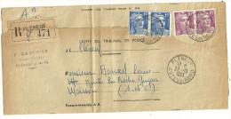 MARIANNE DE GANDON TARIF 50F SUR LETTRE RECOMMANDEE EN 1953 - Marcofilia (sobres)