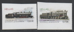 GREECE, 2015, MNH, TRAINS, OLD TRAINS, TWO SELF-ADHESIVE VALUES EX. BOOKLETS - Treinen