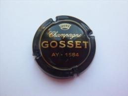 Capsule Plaque Muselet Champagne Gosset Ay 1584 - Noir écriture Dorée - Gosset