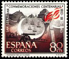 ESPAÑA SEGUNDO CENTENARIO NUEVO Nº 1517 ** 80C CASTAÑO Y ROJO SAN SEBASTIAN - 1961-70 Neufs