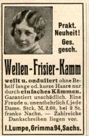 Original-Werbung/ Anzeige 1928 - WELLEN FRISIER - KAMM / LUMPE - GRIMMA  - Ca. 30 X 50 Mm - Werbung