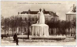 23 L´Hiver à -GUERET- La Fontaine Des Trois Grâces Sous La Glace-(neige) Cachet Daguin-2 Scans - Guéret