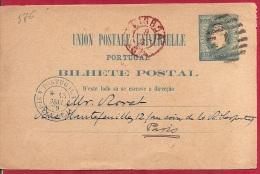 LD-576     LISBOA 1879        Naar     PARIS     Grensovergangstempel   4 PORTUGAL 4 ST JEAN DE LAZ - Postal Stationery