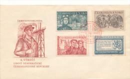 Czechoslovakia / First Day Cover (1950/03) Praha 1 (b): Liberation Of Czechoslovakia (1945) - 3,00 People's Militia - Berufe