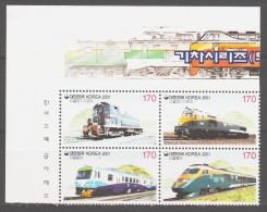 Korea-South 2001 Korea-Süd Mi 2164-2167vs Railways. Locomotives / Eisenbahnen **/MNH - Treinen