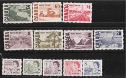CANADA, 1967, USED # 454-8, 461-65B. CENTENNIAL DEFINITIVES LOW & HIGH VALUE    USED - 1952-.... Règne D'Elizabeth II