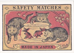 CP Etiquette Boîte D'allumettes Japonaise Début Du Siècle - Chats Jouant Avec Poissosn Dans Aquarium - Advertising