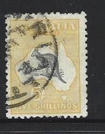 Australia 1915 - 1928  5 Shilling Yellow And Grey  Kangaroo 3rd Wmk FU - 1913-48 Kangaroos
