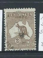 Australia 1913 2 Shilling Brown Kangaroo 1st Wmk FU - 1913-48 Kangaroos