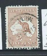 Australia 1913 5d Chestnut 1st Wmk Kangaroo FU - 1913-48 Kangaroos
