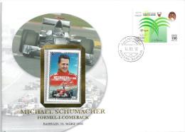 """Sonderbrief  """"Michael Schumacher, Formel 1 Comeback, Bahrain""""            2010 - Bahreïn (1965-...)"""