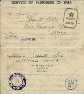 BIGLIETTO CAMPO PRIGIONIERI INDIA 24  YOL 1943 POW X TORINO - Militärpost (MP)