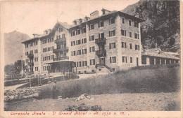 """01787 """"(TORINO) CERESOLE REALE - IL GRANDE HOTEL M. 1550"""" ANIMATA. TIMBRO RIQUADRATO CART. ORIG. SPEDITA 1910 - Other Cities"""