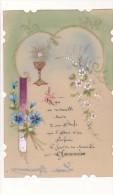 ¤¤   -  Carte En Celluloïd De Première COMMUNION , Peinte à La Main   -  ¤¤ - Communion