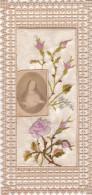 ¤¤   -  Petite Carte Religieuse Brodée , Dentellée  -  Fleurs   -  Canivet ??   -  ¤¤ - Christentum