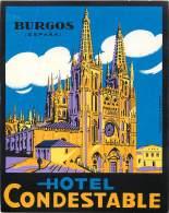 BURGOS     HOTEL CONDESTABLE        ETIQUETTE D HOTEL  PUBLICITE - Etiketten Van Hotels