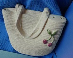 Vintage GABRIEL Sweden I671 Swedish Wall Decor Plaque Ceramic Signed BAG For Flowers ? - Ceramics & Pottery