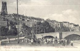 Cp SUISSE FRIBOURG Le Vieux Pont ( église Habitation Animation Garcon Fillette Femme ) - FR Fribourg