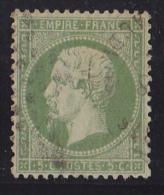 France N°20 - 5c Vert. Oblitéré - TB - 1862 Napoléon III