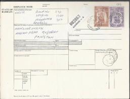 Bahrain Registered Parcel 1976 Sheik Isa 3d, 2d, On Parcel Card More Than 50% Off Catalog Value Sent To Pakistan. - Bahrain (1965-...)