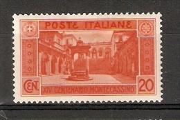 SELLO DE ITALIA DEL AÑO 1929 DE XIV CENTENARIO MONTECASSINO  CON CHARNELA - Nuevos