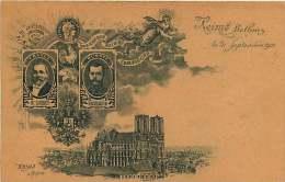 51 - 240615 - REIMS La Cathédrale - Betheny 21 Septembre 1901 M LOUBET Et NICOLAS II En Médaillon - Militaria Politique - Reims