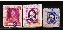 INDIAN STATE RAJKOT 3 DIFFERENT REVENUE STAMPS LOT #D01 - India