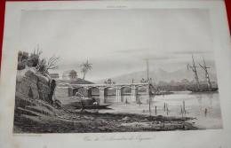 GRAVURE XIXème (1841) - Vue Du Débarcadère De Cayenne GUYANE - Estampes & Gravures
