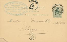 434/23 - MUSIQUE Belgique - Entier Postal GAND 1889 - Cachet Gevaert , Pianos Et Orgues , Succ. Ep. Beyer - Musik