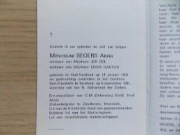 Doodsprentje Anna Segers Oud Turnhout 14/1/1903 Turnhout  5/9/1981 ( Jos Sol En Louis Gautier ) - Religion & Esotericism