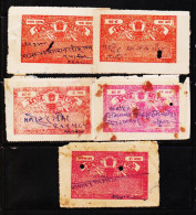 INDIA STATE MADHYA BHARAT 5 DIFFERENT CF REVENUE FISCAL STAMPS COND. POOR#D1 - India