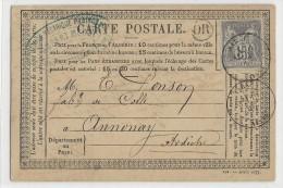 1877 - AISNE - SAGE - CARTE PRECURSEUR ENTIER De SONS CHATILLON ORIGINE RURALE AVEC DATEUR De MARLE - 1877-1920: Periodo Semi Moderno
