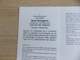 Doodsprentje René Boogaerts Antwerpen 2/11/1905 Brasschaat 16/2/1989 ( Julia Van Den Kieboom ) - Religión & Esoterismo