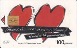 ARGENTINA - Hearts, Telecom Argentina Telecard, Chip GEM1a, 05/98, Used - Argentinien