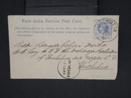 GRANDE-BRETAGNE-INDE-Entier Postal De Calcutta Pour Unchera En 1893 à Voir Lot P6936 - 1882-1901 Empire