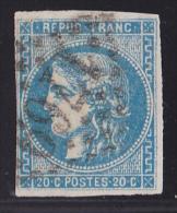 France N°46A - 20c Bleu - Report 1 - Oblitéré - TB - 1870 Emission De Bordeaux