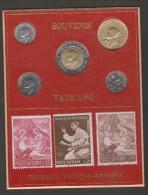 VATICANO SERIE 5 MONETE 3 FRANCOBOLLI SOUVENIR 1991 ORIGINAL VATICA STAMPS - Vaticano