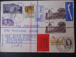 Afrique Du Sud Lettre Recommande Express De Cape Town 1985 Pour Southampton,joli Affranchissement - Afrique Du Sud (1961-...)