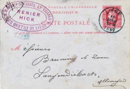 446/23 - TABAC Belgique - Entier Postal Type TP 30 LIEGE 1882 - Cachet Manufacture Tabacs Et Cigares Renier Hick - Tabac