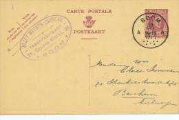 447/23 - TABAC Belgique - Entier Postal Houyoux BOOM 1925 - Cachet Tabakfabrikant Jozef Meert-Dierckx - Tobacco