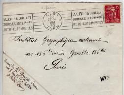 Flamme Albi 16 Juillet Course Internationales Moto Automobiles 1950 Oblitération Mécanique - Mechanical Postmarks (Advertisement)