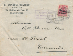 450/23 - TABAC Belgique - Lettre TP Germania MECHELEN 1916 - Entete MALINES Tabacs Windels-Deltour - Tabac