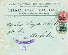 451/23 - TABAC Belgique - Lettre TP Germania BRUSSEL 1916 - Entete LOTH , Manufacture De Cigares Clerebaut - Tabac