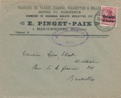 452/23 - TABAC Belgique - Lettre TP Germania MARIEMBOURG - Censure GIVET- Entete Fabrique De Tabacs Cigares Pinget-Paix - Tabac