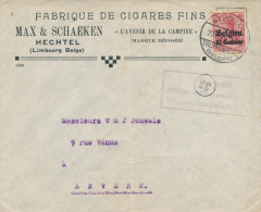 453/23 - TABAC Belgique - Lettre TP Germania BEVERLOO - Entete HECHTEL , Fabrique De Cigares Max § Schaeken - Tobacco