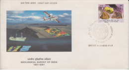 India  2001  Raw Gems  Uncut Stones  Geological Survey First Day Cover..Very Light Cancellation  # 84974  Inde  Indien - Geology