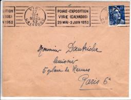 Foire Exposition Vire (calvados) 24 Mai Au 2 Juin 1952 Oblitération Mécanique Temporaire - Marcophilie (Lettres)