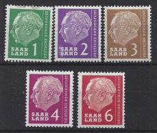 Germany (Saarland) 1957 (*) MH  Mi.380,381,382,383 + 385 - 1957-59 Federation