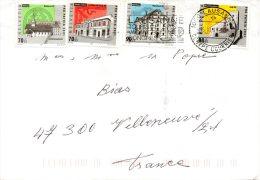 SUISSE. N°1678-81 De 2001 Sur Enveloppe Ayant Circulé. Monuments/Abbaye/Théâtre/Château. - Abbazie E Monasteri